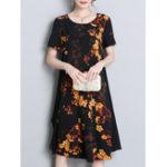 New Women Short Sleeved Floral Chiffon Dress