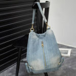 New Women Denim Plain Solid Shoulder Bag Backpack