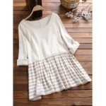 New Women Casual Striped Patchwork Long Sleeve Blouse
