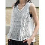 New Women Brief Solid Color Sleeveless Mesh Tank Tops
