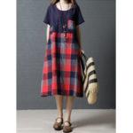 New Women Short Sleeve O-neck Plaid Dress