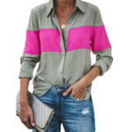 New Women Turn Down Collar Patchwork Button Long Sleeve Shirts