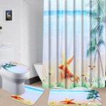 New Bathroom Decor Shower Curtain Bathroom Mat Non Slip Pedestal Rug Lid Toilet Cover Bath Mat