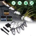New 4 In1 Solar Powered LED Dog Paw Print Lights Garden Outdoor Lawn Yard Path Lamp
