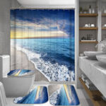 New Sunshine Beach Waterproof Shower Curtain & Non-Slip Mats Polyester Fabric Bathroom Curtain Mildewproof Curtain For The Bathroom