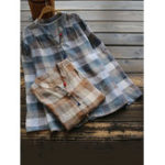 New Stand Collar Button Plaid Vintage Blouse