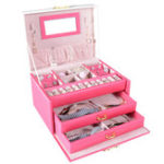 New 6 Colors Three-Layers PU Leather Jewelry Packaging Box With Mirror Storage Organizer Carrying Case