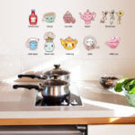 New Cartoon Kitchen Utensil Wall Sticker Removable Kitchen Decorative Stickers Multi Color PVC Decals
