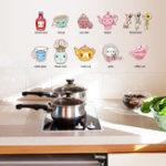 New Cartoon Kitchen Utensil Wall Sticker Removable Kitchen Decorative Stickers Multi Color PVC Decals