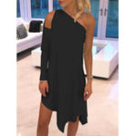New Women Off Shoulder One Sleeve Asymmetric Party Dress