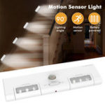 New [Battery Operated] KCASA KC-LT1 LED Wireless PIR Motion Sensor Cabinet Cupboard Closet Light Lamp 6 LED 90° Light Angle for Home/Garage/Entrance/Hallway/Basement