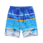 New Striped Printing Stitching Drawstring Quick Dry Board Shorts