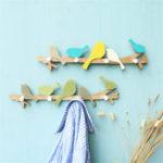 New Country Hook Green Bird Original Wooden Hanger Wall Coat Rack  Home Hooks