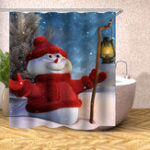 New Christmas Decoration Christmas Snowman Shower Curtain Washable Eco-friendly Waterproof Curtain With Plastic Hook