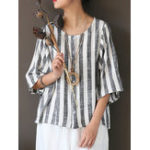 New Plus Size Vintage Stripe 3/4 Sleeve Button Blouse