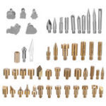 New 57Pcs Wood Burning Solder Iron Set Pyrography Brass Tips + 2X Stencils Kit Tool