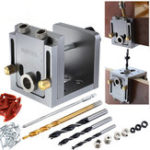 New Aluminum Alloy Pocket Hole Jig Kit 9mm Drill Guide Wood Doweling Jig Drilling Hole Locator Woodworking Tools