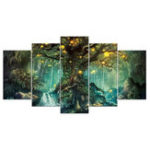 New 5Pcs Tree of Life Wall Art Hanging Decor Canvas Print Large Painting Pictures Paper