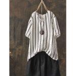 New Plus Size V-neck Short Sleeve Women Stripe Blouse