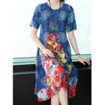New Elegant Women Floral Print Short Sleeve Crew Neck Dress