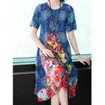 New Elegant Women Floral Print Short Sleeve Crew Neck Dress