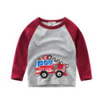 New Car Printed Boys Long Sleeve Tops T-Shirts For 3Y-12Y