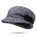 New Striped Middle-Aged Octagonal Woolen Bucket Hat