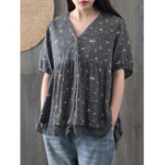 New Floral Print Lace Patchwork Short Sleeve Women Blouse