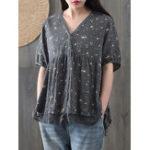 New Floral Print Lace Patchwork Short Sleeve Women Blouse