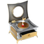 New Classical Rotating Girl Music Box Jewelry Storage Make up Mirror Dresser Case