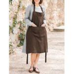 New Women Vintage Strap Pocket Solid Color Apron Dress