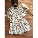 New Women Casual Loose Leaf Print Short Sleeve T-Shirts
