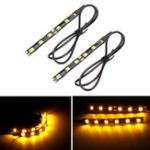 New 12V Pair 6 LED 5050 Motorcycle Strip Turn Signal Indicator Blinker Light Amber
