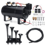 New Truck Train 4 Trumpet 150db Air Horn 12V Compressor 4 Liters 180 PSI Pressure Gauge Tubing Kit
