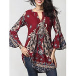 New Women Print V-Neck Long Sleeve Irregular Hem Blouse