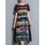 New Vintage Floral Print Irregular Chiffon Dress
