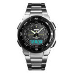 New SKMEI 1370 Stainless Steel Business Style Dual Digital Watch