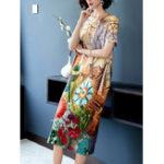 New Elegant Floral Print Short Sleeve Vintage Dress