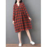 New Women Loose V-neck Long Sleeve Button Plaid Shirt Dress