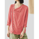 New Women Button Down Plaid Loose Casual Basic Blouse