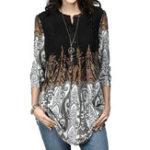 New Casual Women Print V-Neck 3/4 Sleeve Blouse