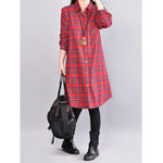 New Women Plaid Turn-Down Collar Casual Shirt Dress