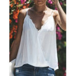 New Lace Patchwork V Neck Tank Tops
