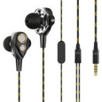 New CAFELE Wired Control Earphone Dual Dynamic Driver Hifi Noise Cancelling In-ear Headset With Mic for Smartphones