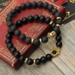 New 2Ppcs Natural Black Lava Stone Beaded Bracelet
