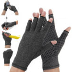 New 1 Pair Anti Arthritis Gloves Ease Pain Relief Compression Gloves Hand Support Outdoor Fitness Half Finger Gloves