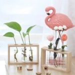 New Glass Test Tube Vase Bottle in Wooden Stand for Plant Flowers Terrarium Decorations