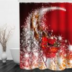 New Merry Christmas Series Shower Curtain Polyester Printed Waterproof Curtain Decoration Home & Hotel Bathroom