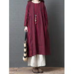 New Women Vintage Cotton Linen Stripe Long Sleeve Dress