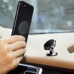 New Round Metal Plate PU Leather Surface Iron Sheet Black for Magnetic Car Phone Holder 4PCS